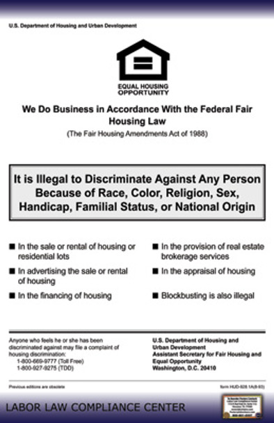 Fair Housing Federal Policy Poster