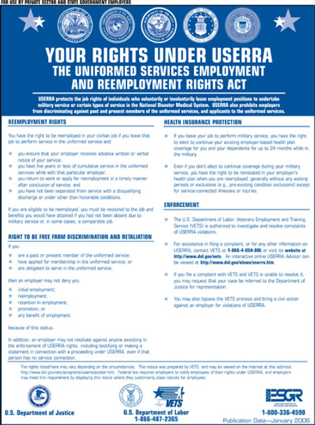 Federal Uniformed Services Employment and Reemployment Rights Act (USERRA) Posting