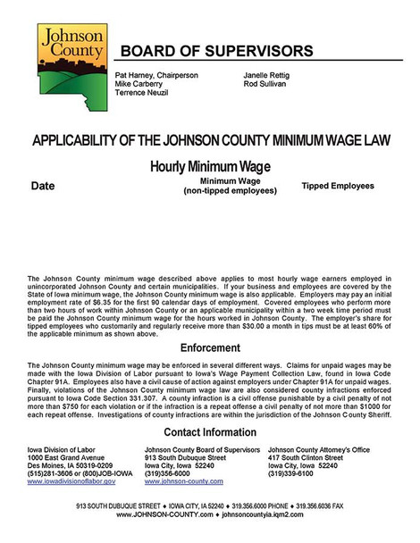 Johnson County Minimum Wage Poster