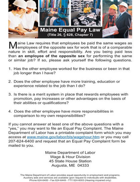 Maine Equal Pay Act State Specialty Policy Poster