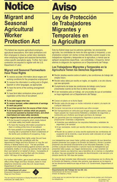 Migrant Seasonal Workers Protection Policy Poster