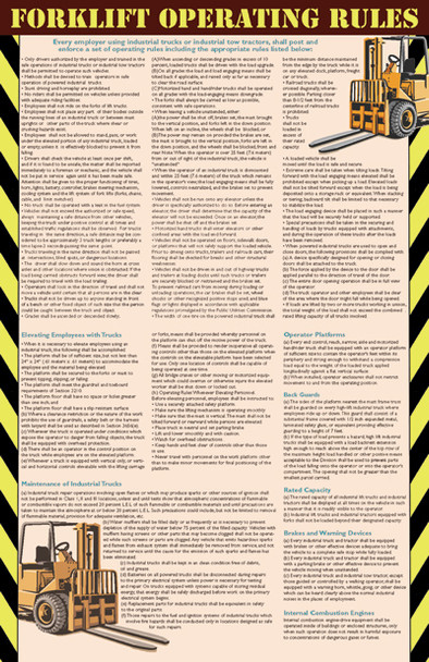 National Forklift / Industrial Truck Safety Poster