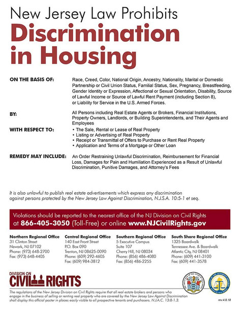 New Jersey Fair Housing State Specialty Policy Poster