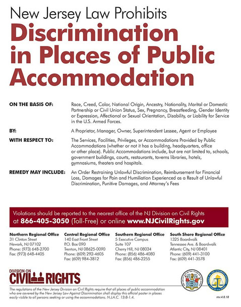 New Jersey Public Accomodations State Specialty Policy Poster