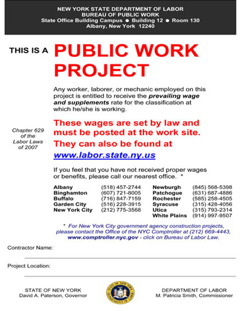 New York Public Works Project State Specialty Policy Poster