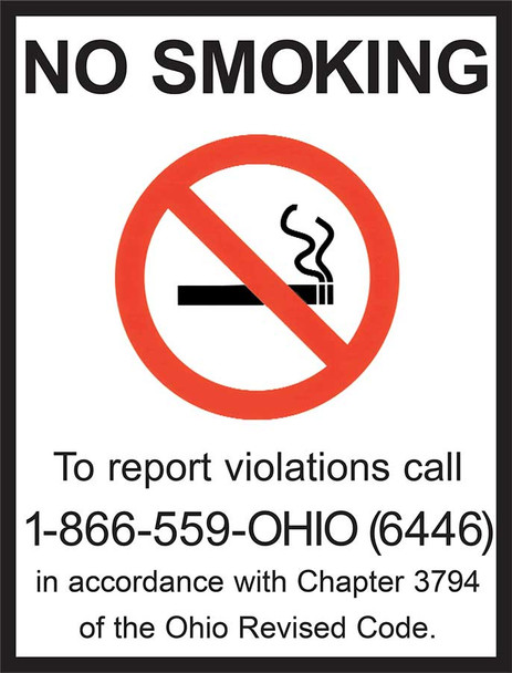 Ohio No Smoking State Specialty Policy Poster