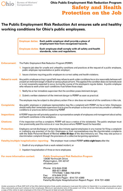 Ohio Public Employment Risk Reduction Program State Specialty Policy Poster