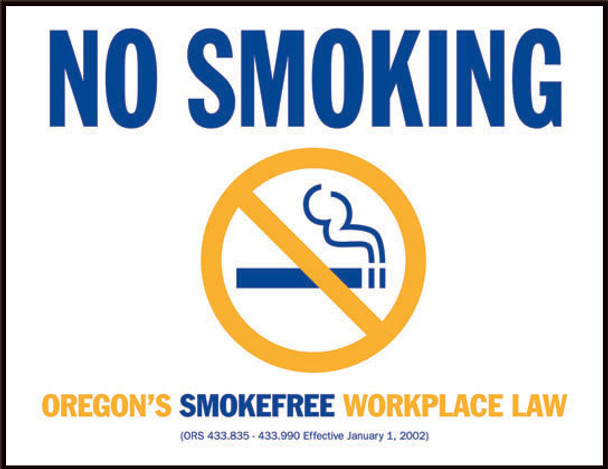 Oregon No Smoking State Specialty Policy Poster