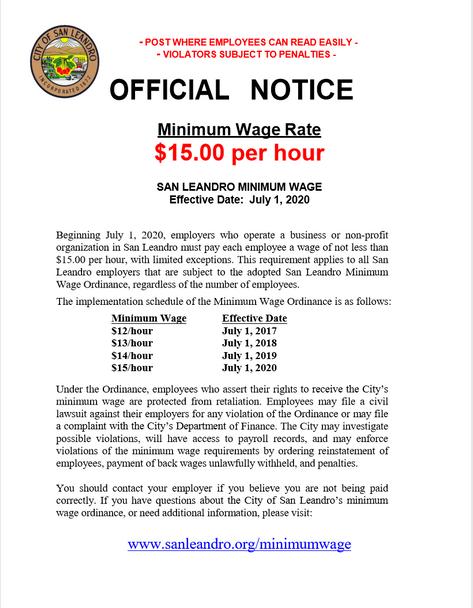 San Leandro, California Local Minimum Wage Ordinance Poster