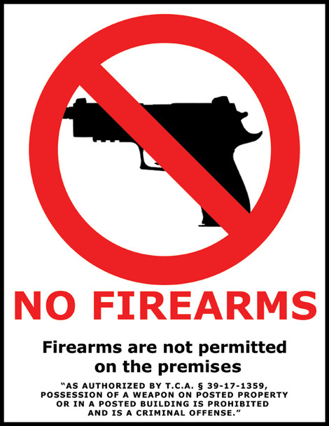 Tennessee No Firearms Poster