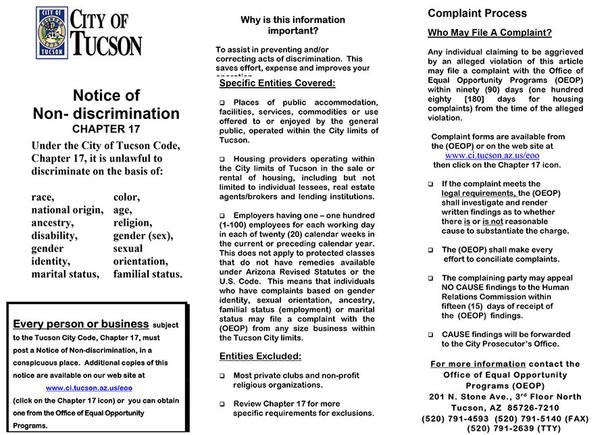 Arizona Tucson Discrimination Poster English