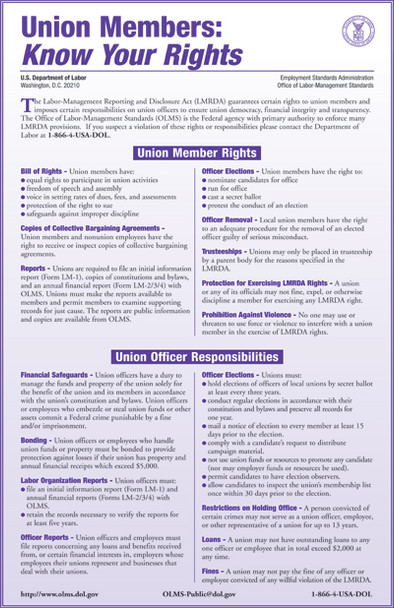 Union Members Rights Federal Specialty Poster