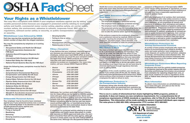 OSHA Whistleblower Federal Policy Poster