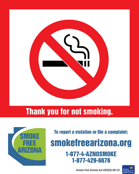 Arizona No Smoking Poster English
