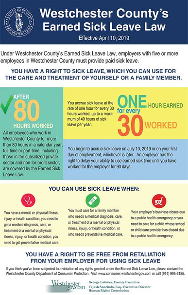 Westchester County, New York Paid Sick Leave Supplemental Poster