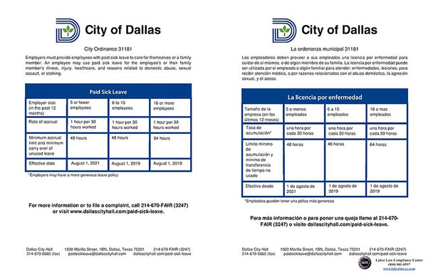 Dallas, Texas Paid Sick Leave Ordinance