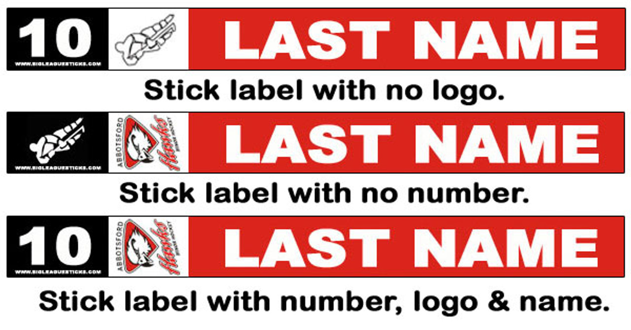 Many label combinations are possible, with or without number or logo.