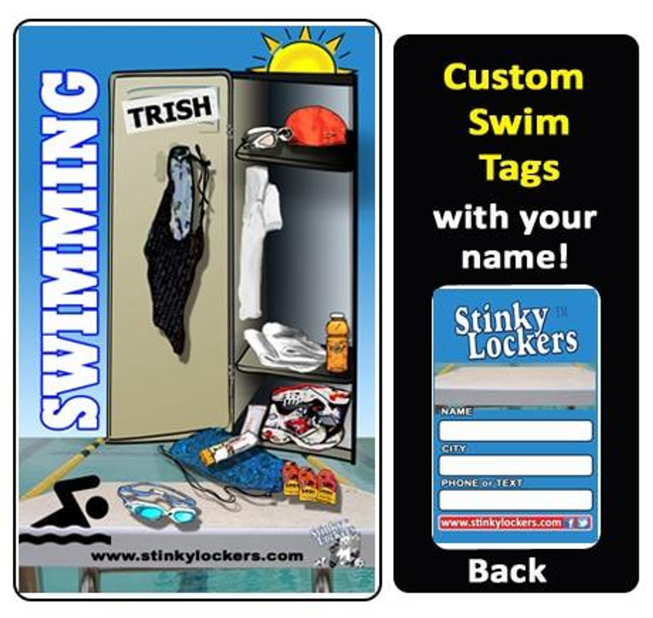 Personalized Swimming Luggage Tag with Loop
