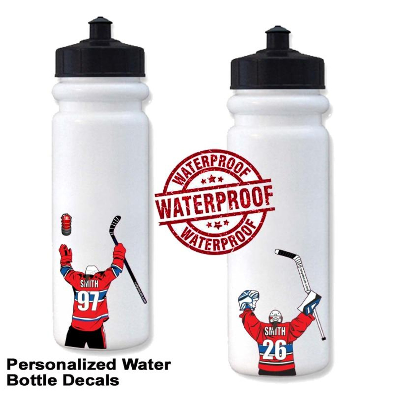 Personalized Hockey Water Bottle Sticker