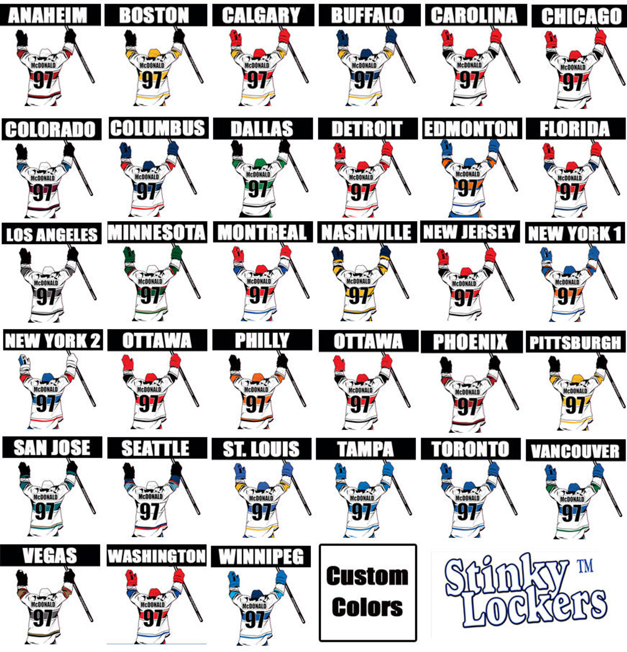 Personalized Hockey Water Bottle Stickers -3 Pack