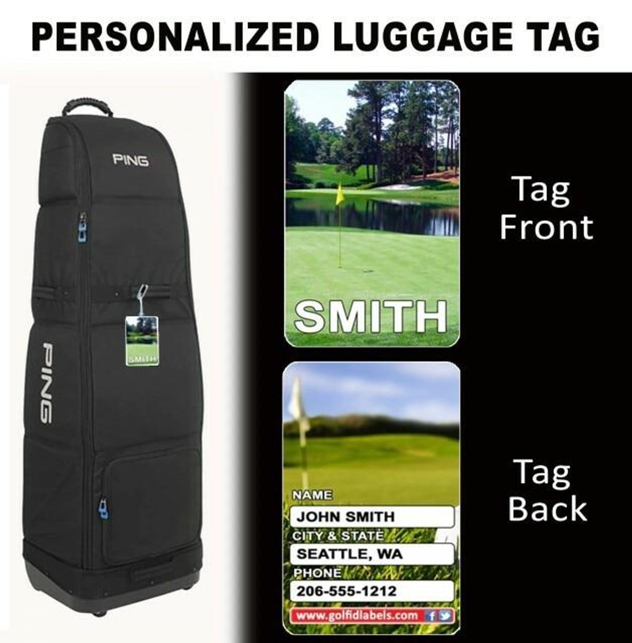 2 Golfer Combo or 2 Sets of Golf ID Decals and 2 Bag Tags
