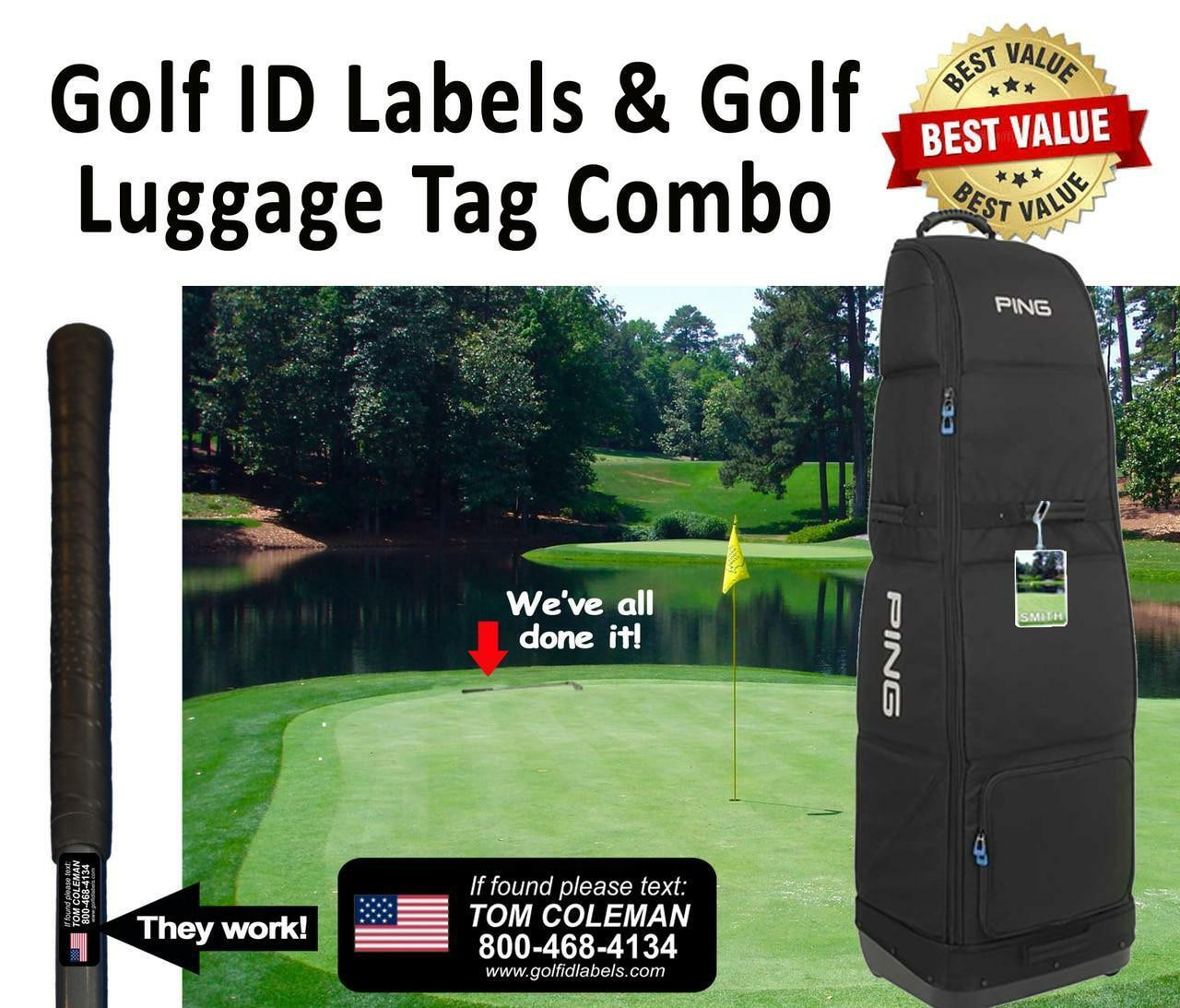 Golf ID Label Combo Includes Sets of 14 Golf ID Decals, 1 Personalized Bag Tag and 1 Golf Target