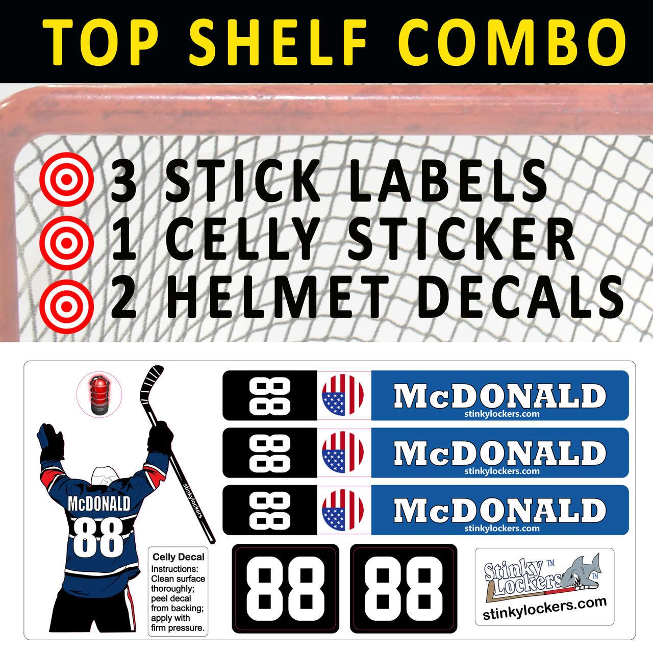 3 Hockey Stick Celly Helmet Combo