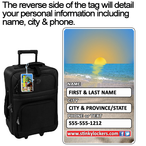 Personalize the back of your tag with your name, city & phone number.