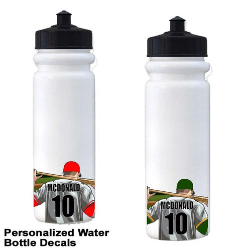 Personalized Baseball Water Bottle Stickers-3 Pack