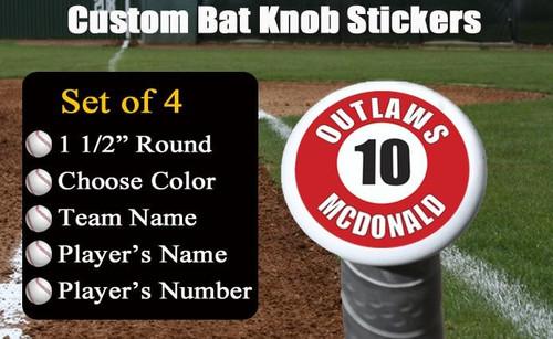 Personalized Baseball Bat Knob Stickers
