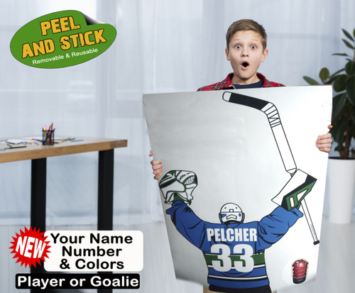 Turn any bedroom or rec room into a Big League Room with our Custom Sporty Splat. Your name, number and jersey colors.