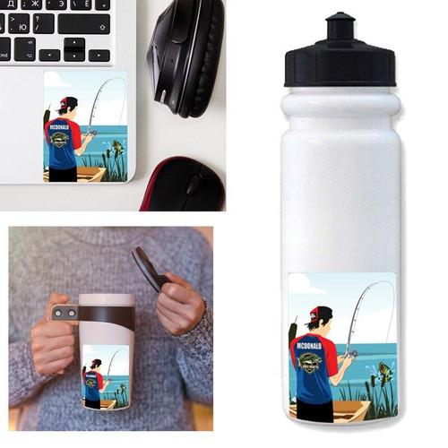 Personalized Bass Fishing Waterproof Sticker