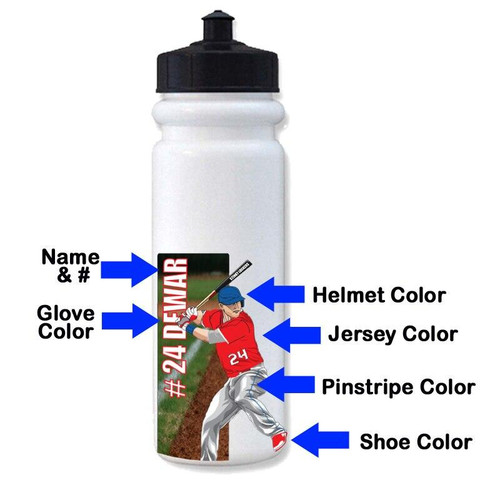 Personalized Baseball Hitter Water Bottle Stickers-3 Pack