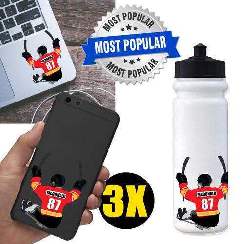 Personalized Sledge Hockey Water Bottle Sticker