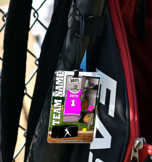 Personalized Softball Luggage Tag with Loop
