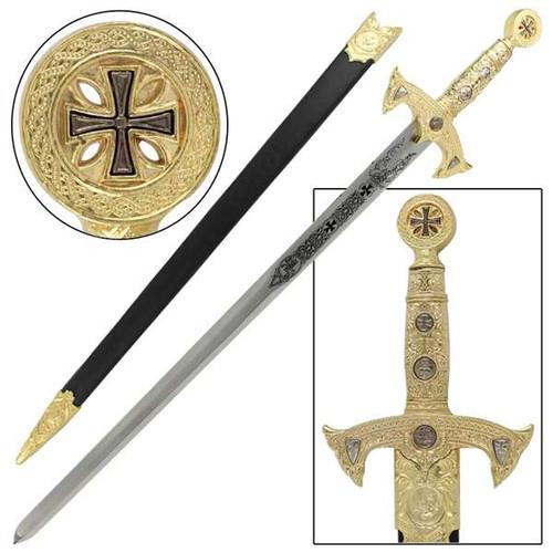 Knights Templar Medieval Replica Longsword - Gold