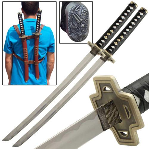Twin Anti-Hero Double Ninja Wakizashi Sword Set
