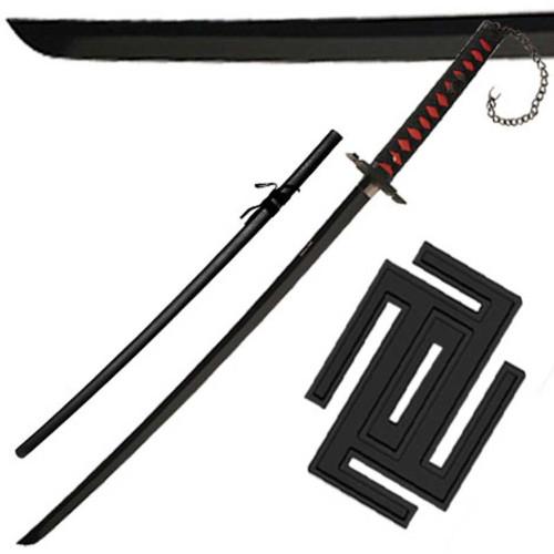 Black Beauty II Half Moon Chain Decorative Traditional Japanese Katana Sword