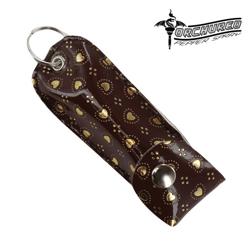 TORCHURED™ Police Grade Maximum Strength Pepper Spray Keychain | Brown w/ Gold Hearts|