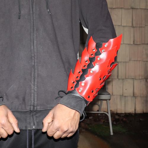 Drogo's Wrath Medieval Adjustable Leather Scaled Arm Bracer   Black and Red  