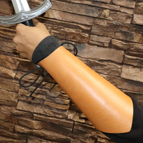 Medieval Warrior Lace Up Leather Bracer   Tan  