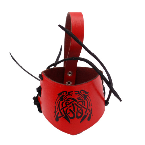 Adjustable Leather Drinking Horn Frog Holster Holder Accessory | Red and Black |