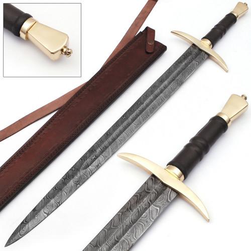Language of Battle Damascus Steel Viking Sword Back Sheath Included