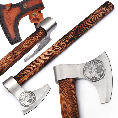 Warhorse High Carbon Forged Steel Bearded Axe