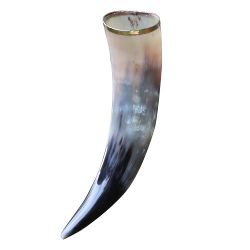 The Hooded Raven ™ Medieval Festival Viking Pure Brass Rim Drinking Horn Canvas Bag Included