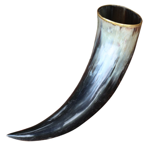 The Hooded Raven ™ Large Pure Brass Rim Drinking Horn Canvas Pouch Included