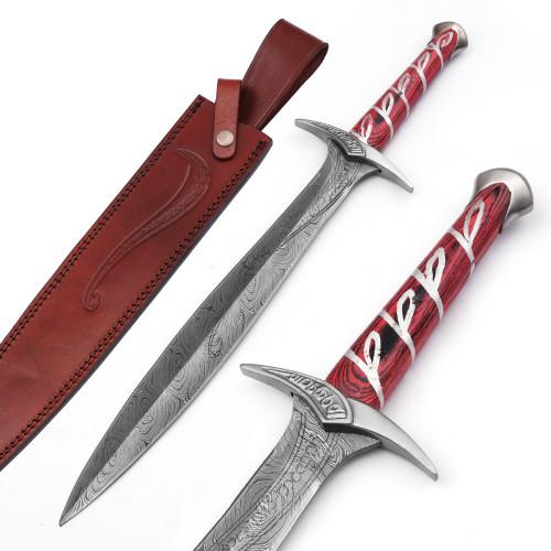 Movie Replica Elven Made Damascus Steel Sword Dagger