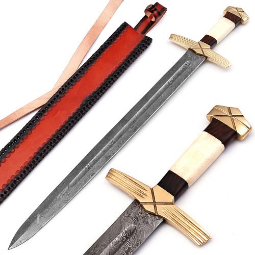 Formidable King Pattern Welded Damascus Steel Viking Sword