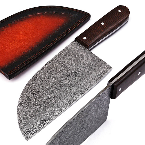 Berdella Handmade Damascus Steel Full Tang Serbian Cleaver Knife