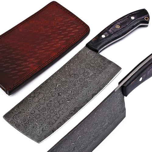 Hannibal Damascus Steel Full Tang Cleaver Knife